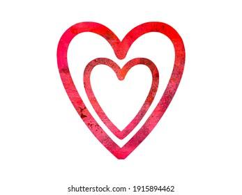 Grunge red heart art symbol, isolated design element, love romantic shape, frame, valentines day