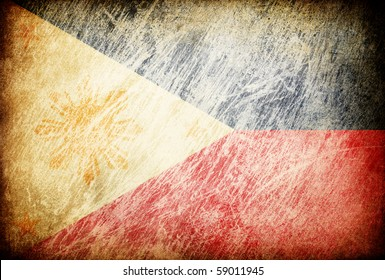 Grunge rubbed flag series of backgrounds. Philippines.