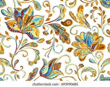 Grunge seamless hand painted floral pattern with paisley, frowers, tulips. Freehand watercolor vintage oriental print. Isolated objects on a white background. Colorful  whimsical background for design