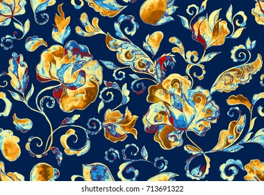 Grunge seamless hand painted floral pattern with paisley, flowers, flores, tulips. Freehand watercolor vintage oriental print. Dark blue batik background. Colorful  whimsical water color design fond.