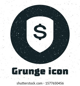 Grunge Shield and dollar icon isolated on white background. Security shield protection. Money security concept.