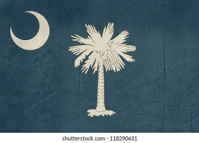 Grunge South Carolina state flag of America, isolated on white background.
