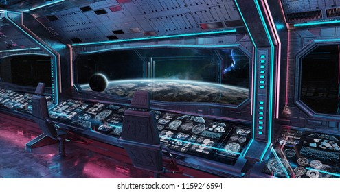 Grunge Spaceship blue and pink interior with view on planet Earth 3D rendering elements of this image furnished by NASA