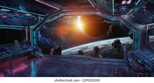 Grunge Spaceship blue and pink interior with view on distant planets system 3D rendering elements of this image furnished by NASA