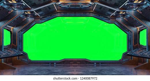 Grunge Spaceship interior with green background 3D rendering