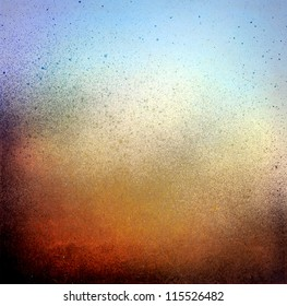Grunge splatter paint background, blue and brown color texture