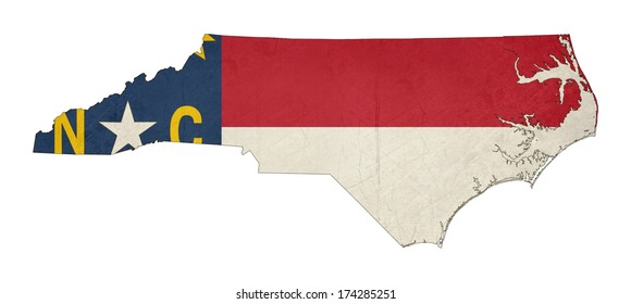 Grunge state of North Carolina flag map isolated on a white background, U.S.A.