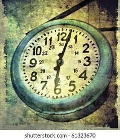 Grunge street clock