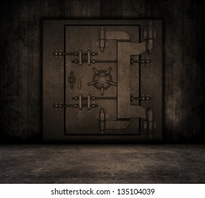 Grunge style image of a room interior with bank vault