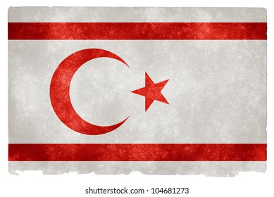 Grunge textured flag of Northern Cyprus on vintage paper