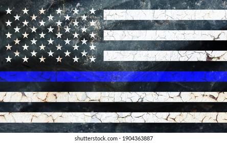 Grunge Thin Blue Line. Black Flag of USA with Police Blue Line texture. Retro flag