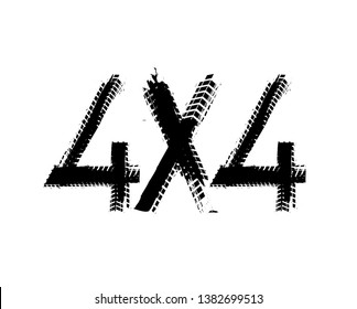 Grunge tire track 4x4 logotype. Unique off road hand drawn lettering in black color
