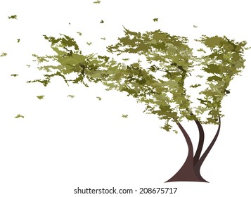 Grunge tree in the wind. Raster version