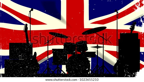 Grunge Union Jack flag as a bakground to a rock band silhouette