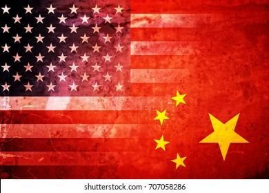 Grunge USA and China flag graphic