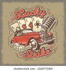 grunge vintage illustration, poster with four card aces, retro car and old microphone. Print, template, design element