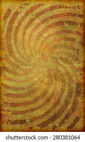 A grunge vintage looking and faded poster background with radial swirl pattern on old paper texture 11X17 format.