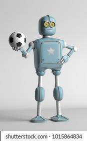 grunge vintage robot play in soccer football. 3D rendering.