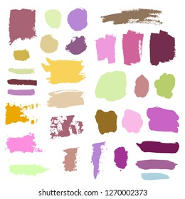 Grunge watercolor ink texture set of hand painted pastel powder color dry brush splashes, strokes, stains, spots, elements, stripes, lines, templates, dirty geometric shapes. Freehand drawn background