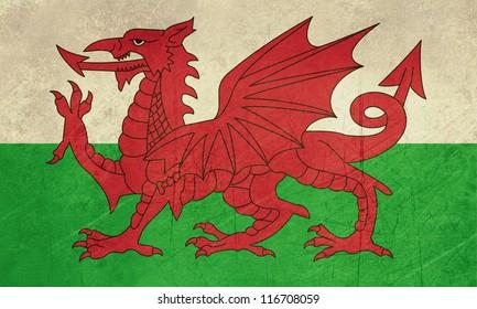Grunge Welsh Dragon flag illustration, isolated on white background.