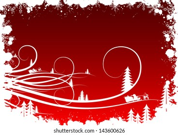 Grunge winter background with fir-tree snowflakes and Santa Claus