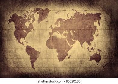 Grunge world map with Latitude and Longitude lines