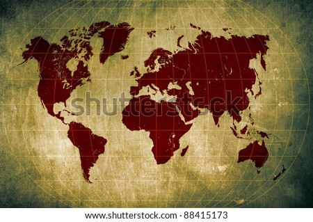 Grunge World Map Latitude Longitude Lines Stock Illustration