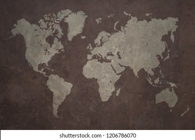Grunge world map made with a planisphere overlaid with grungy elements, dark seas and light lands version