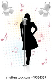 Grunge/vintage illustration with girl and microphone