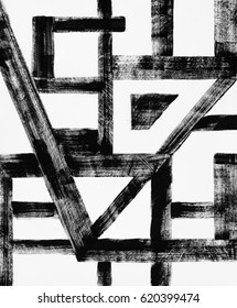 A grungy abstract monochrome painting; geometric, with broken brushwork