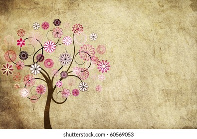 Grungy background with a flowery tree