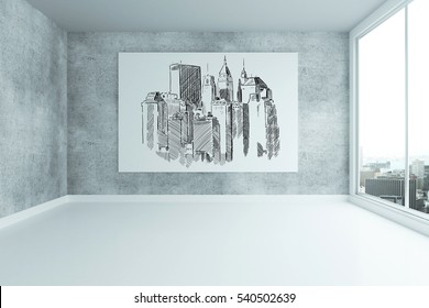 Grungy concrete interior with city sketch on billboard and panoramic window. 3D Rendering