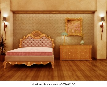 Grungy distressed Baroque inspired hotel room with antique feel.