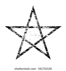 Grungy distressed occult pentangle symbol rubber stamp illustration