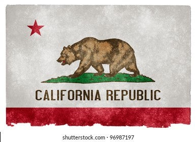 Grungy Flag of California on Vintage Paper