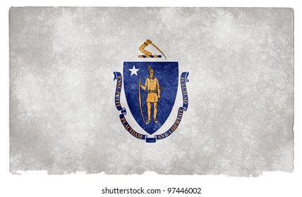 Grungy Flag of Massachusetts on Vintage Paper