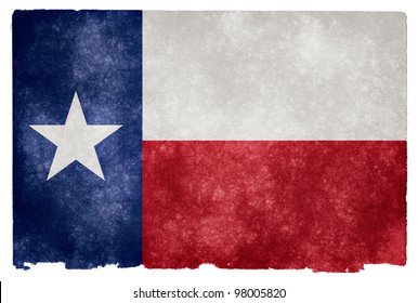 Grungy Flag of Texas on Vintage Paper