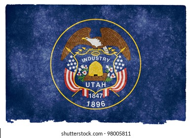 Grungy Flag of Utah on Vintage Paper