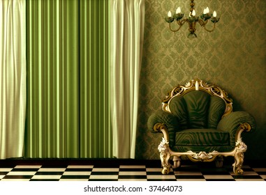Grungy, gritty, Baroque, Rococo style vintage interior featuring a chandelier.