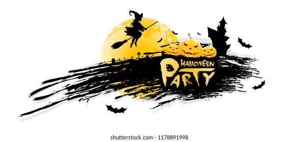 Grungy Halloween Party Background. Holiday Card with Pumpkins, Witch, Cemetery Moon and Hauned House.