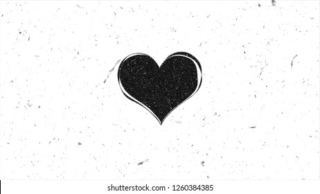Grungy heart shape with noise. Sloppy style illustration
