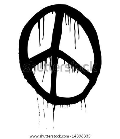 Grungy Illustration Peace Symbol Stock Illustration 14396335