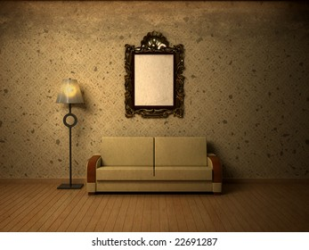 Grungy interior with simple beige wallpaper. Possible idea for visual shop window design. Plenty of copy space. Frame left blank intentionally.