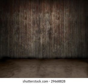 Grungy old empty wooden room