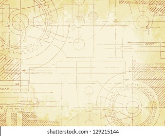 Grungy old technical blueprint illustration on faded paper background