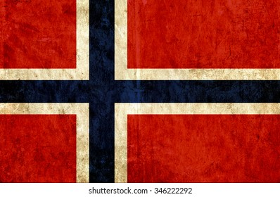 Grungy paper flag of Norway