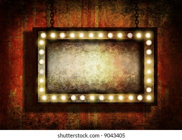 A grungy sign with marquee lights hanging by chains. Grunge velvet wallpaper in the background