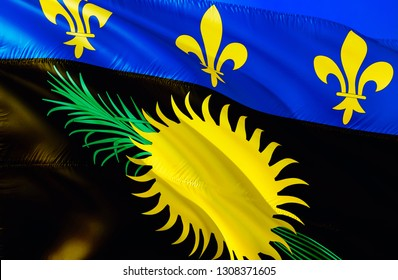 Guadeloupe flag. 3D Waving flag design. The national symbol of Guadeloupe, 3D rendering. National colors and National Caribbean flag of Guadeloupe for a background. Caribbean sign on smooth silk