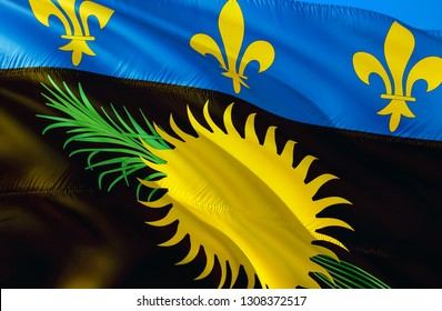 Guadeloupe flag. 3D Waving flag design. The national symbol of Guadeloupe, 3D rendering. The national symbol of Guadeloupe background wallpaper. Caribbean flag 3D ribbon,wallpaper, pattern background