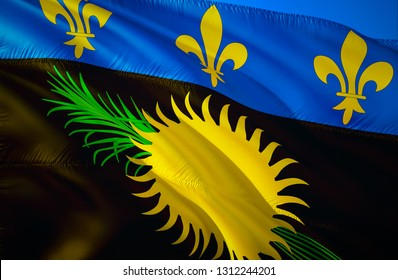 Guadeloupe flag. 3D Waving flag design. The national symbol of Guadeloupe, 3D rendering. Guadeloupe 3D Waving sign design. Waving sign background wallpaper. 3D pattern background download HD